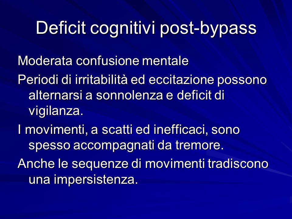 Deficit cognitivi post-bypass Moderata confusione mentale Periodi di irritabilità ed eccitazione possono alternarsi a sonnolenza e deficit di vigilanz