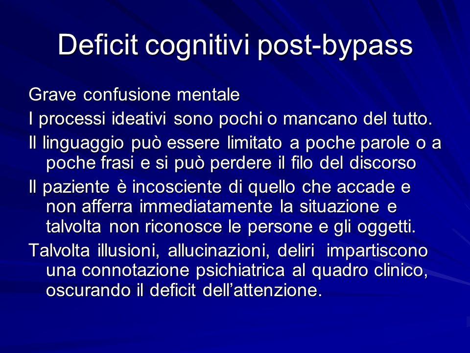 Deficit cognitivi post-bypass Grave confusione mentale I processi ideativi sono pochi o mancano del tutto. Il linguaggio può essere limitato a poche p