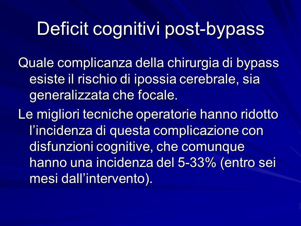 Deficit cognitivi post-bypass Quale complicanza della chirurgia di bypass esiste il rischio di ipossia cerebrale, sia generalizzata che focale. Le mig