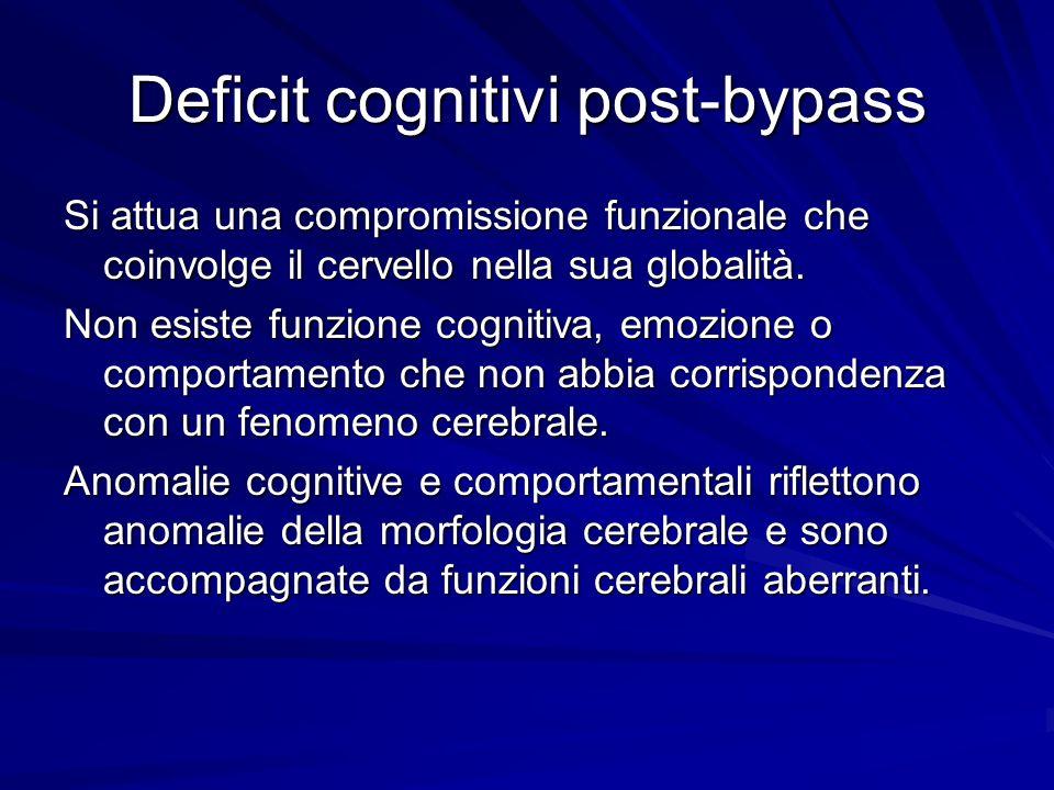 Deficit cognitivi post-bypass Si attua una compromissione funzionale che coinvolge il cervello nella sua globalità. Non esiste funzione cognitiva, emo