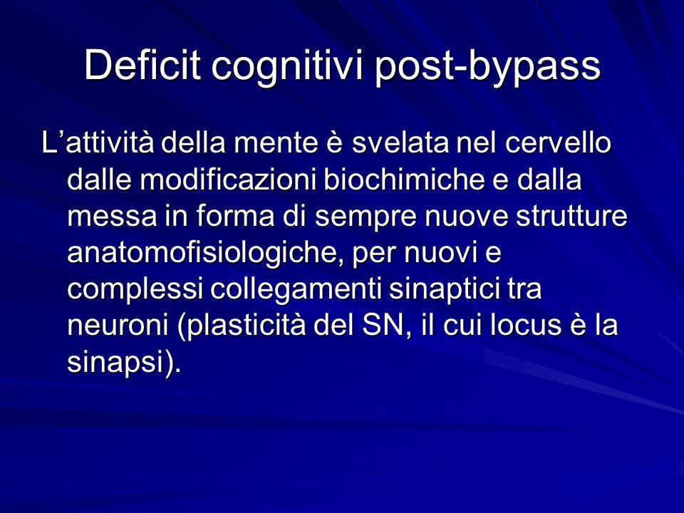 Deficit cognitivi post-bypass Lattività della mente è svelata nel cervello dalle modificazioni biochimiche e dalla messa in forma di sempre nuove stru