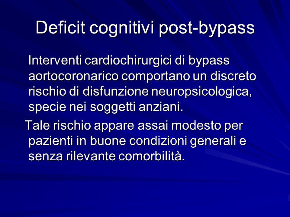 Deficit cognitivi post-bypass Di solito la prestazione ai test neuropsicologici è peggiore nella prima settimana dopo lintervento; alcuni mesi dopo, la maggior parte dei pazienti ritorna ai livelli preoperatori.