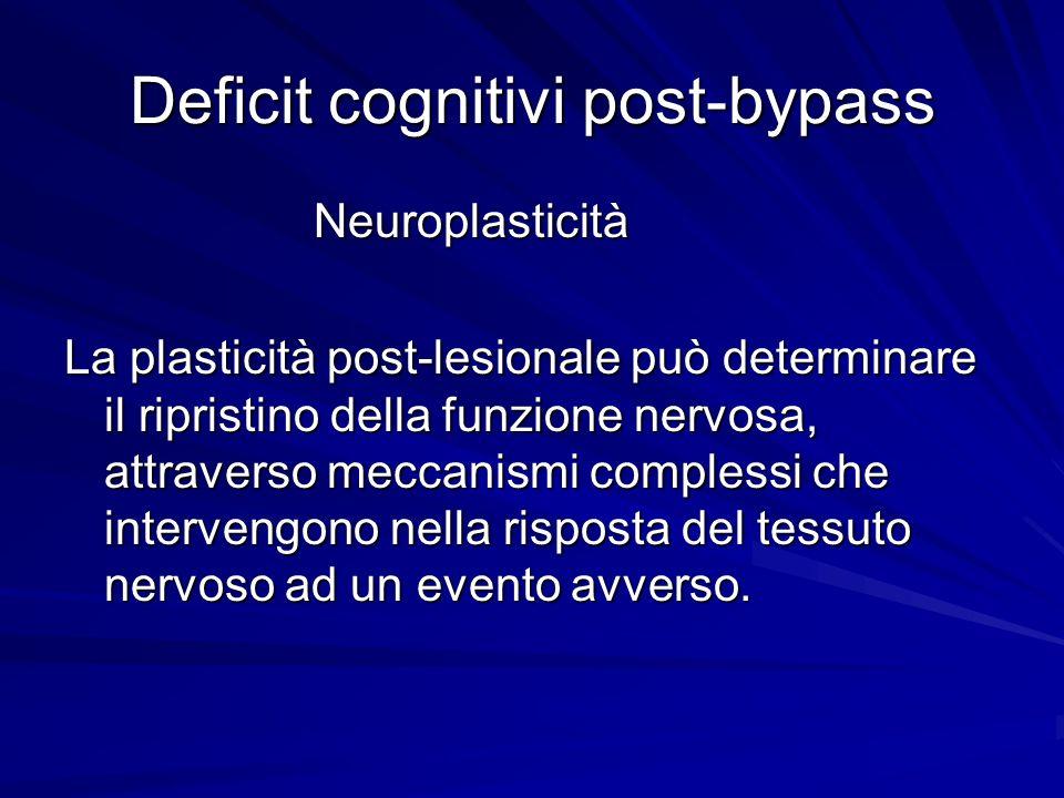 Deficit cognitivi post-bypass Neuroplasticità Neuroplasticità La plasticità post-lesionale può determinare il ripristino della funzione nervosa, attra