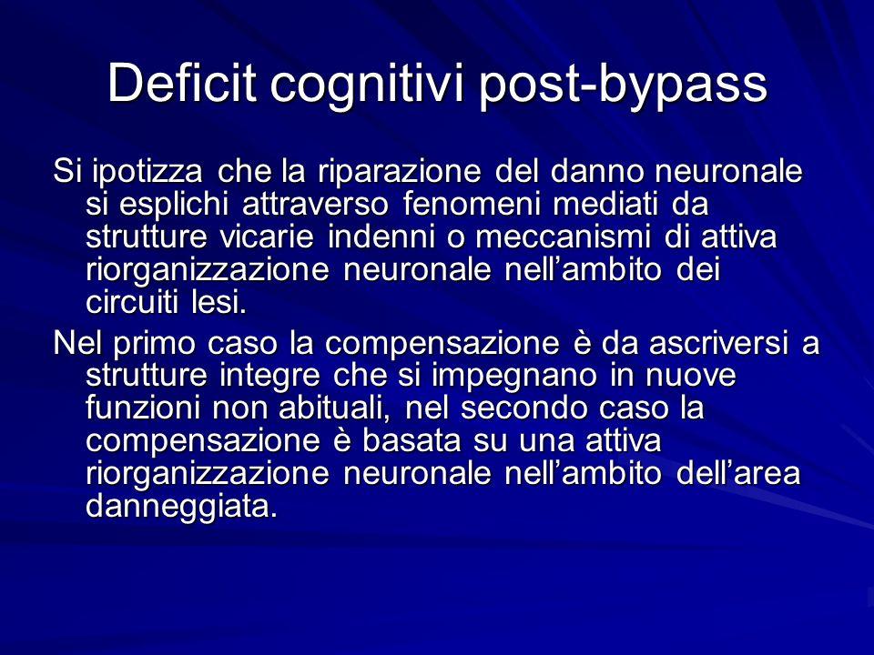 Deficit cognitivi post-bypass Si ipotizza che la riparazione del danno neuronale si esplichi attraverso fenomeni mediati da strutture vicarie indenni