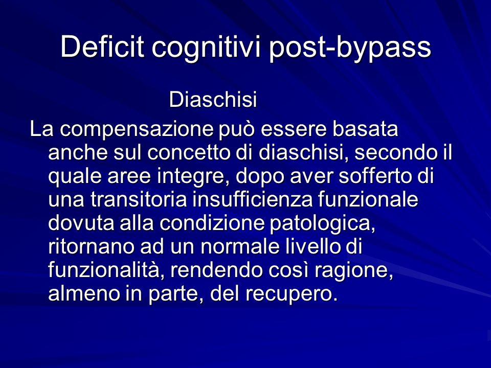 Deficit cognitivi post-bypass Diaschisi Diaschisi La compensazione può essere basata anche sul concetto di diaschisi, secondo il quale aree integre, d