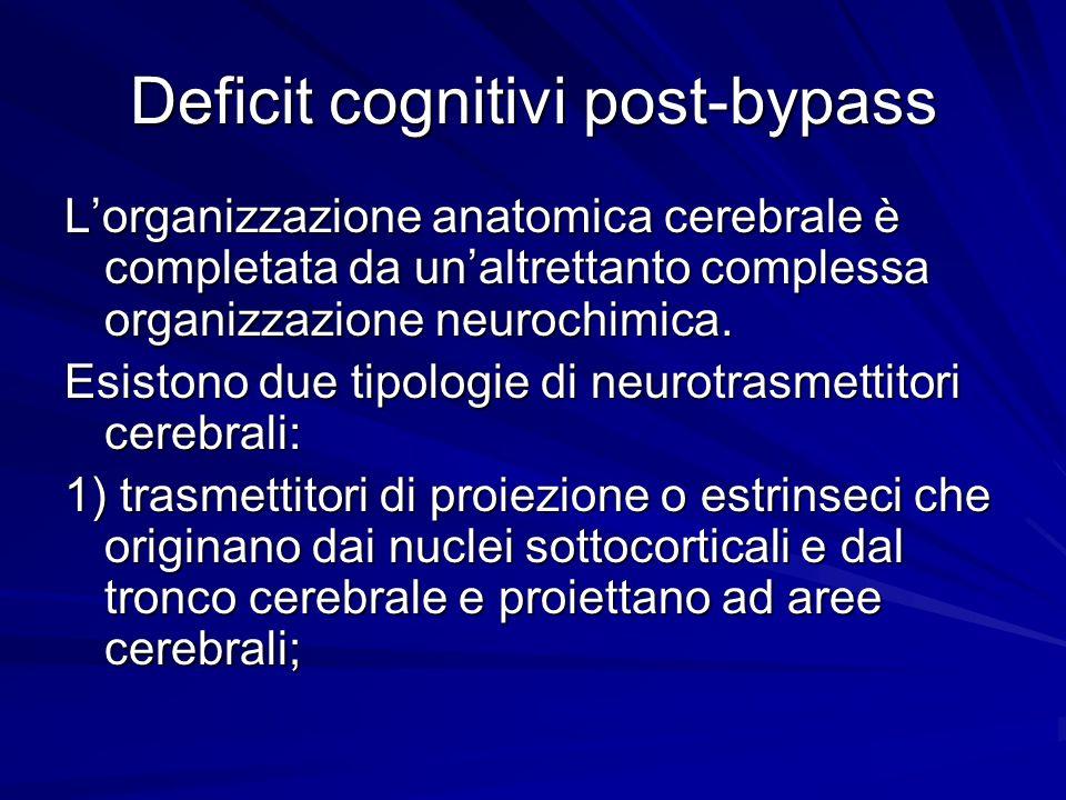 Deficit cognitivi post-bypass Lorganizzazione anatomica cerebrale è completata da unaltrettanto complessa organizzazione neurochimica. Esistono due ti