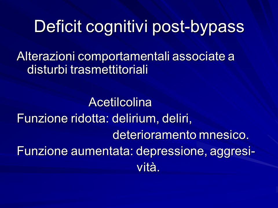 Deficit cognitivi post-bypass Alterazioni comportamentali associate a disturbi trasmettitoriali Acetilcolina Acetilcolina Funzione ridotta: delirium,