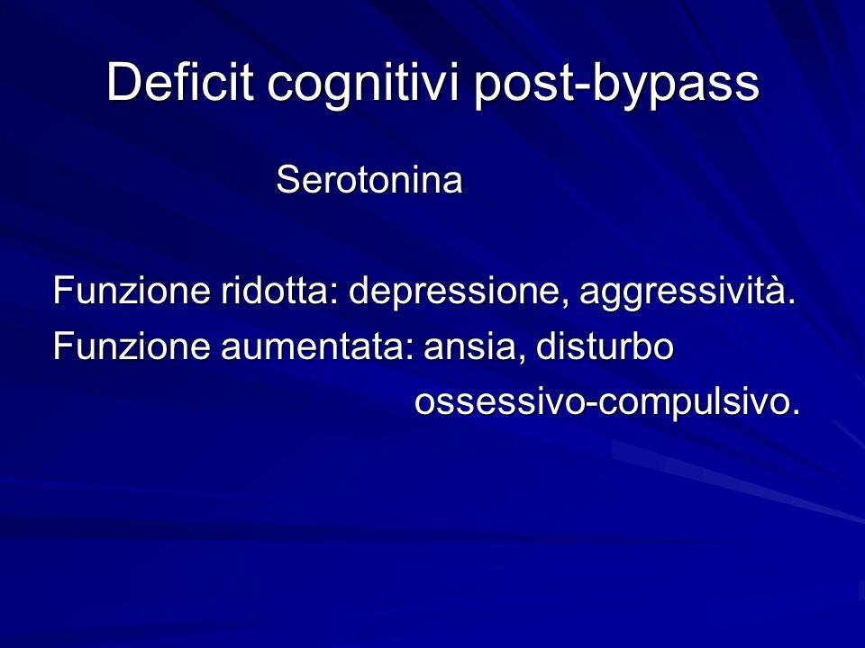 Deficit cognitivi post-bypass Serotonina Serotonina Funzione ridotta: depressione, aggressività. Funzione aumentata: ansia, disturbo ossessivo-compuls