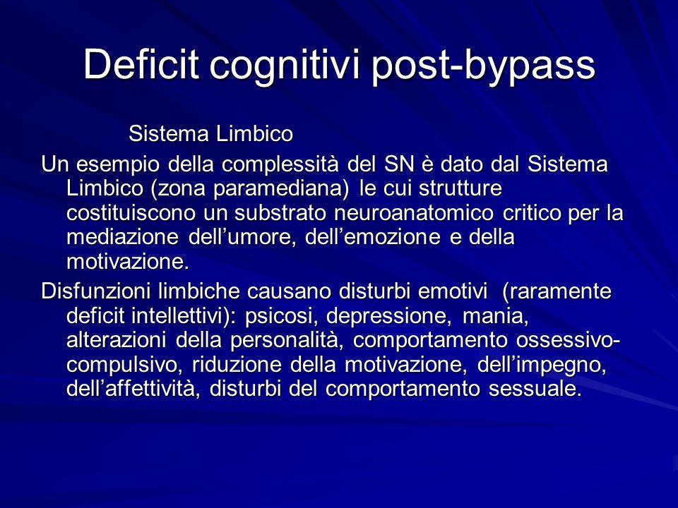 Deficit cognitivi post-bypass Sistema Limbico Sistema Limbico Un esempio della complessità del SN è dato dal Sistema Limbico (zona paramediana) le cui