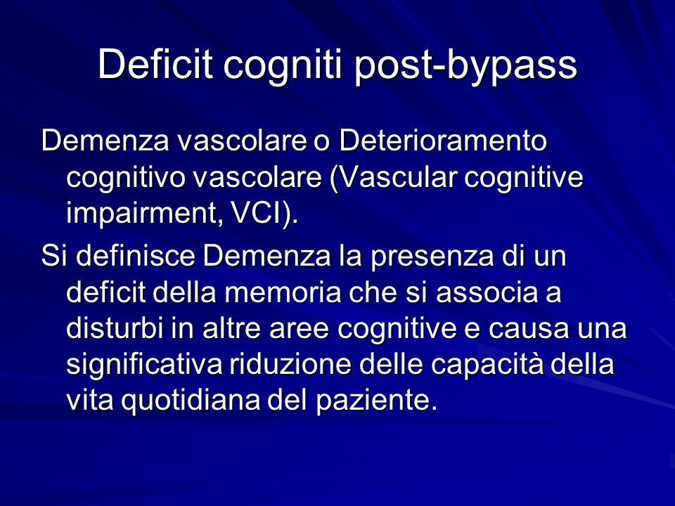 Deficit cogniti post-bypass Demenza vascolare o Deterioramento cognitivo vascolare (Vascular cognitive impairment, VCI). Si definisce Demenza la prese