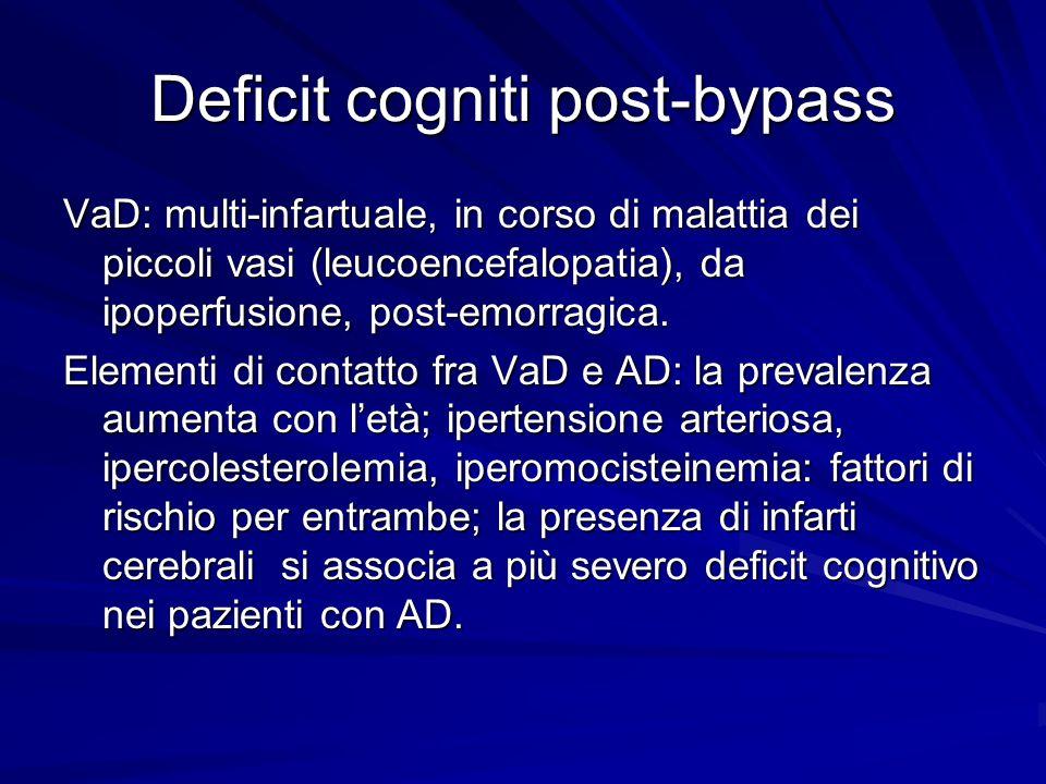 Deficit cogniti post-bypass VaD: multi-infartuale, in corso di malattia dei piccoli vasi (leucoencefalopatia), da ipoperfusione, post-emorragica. Elem