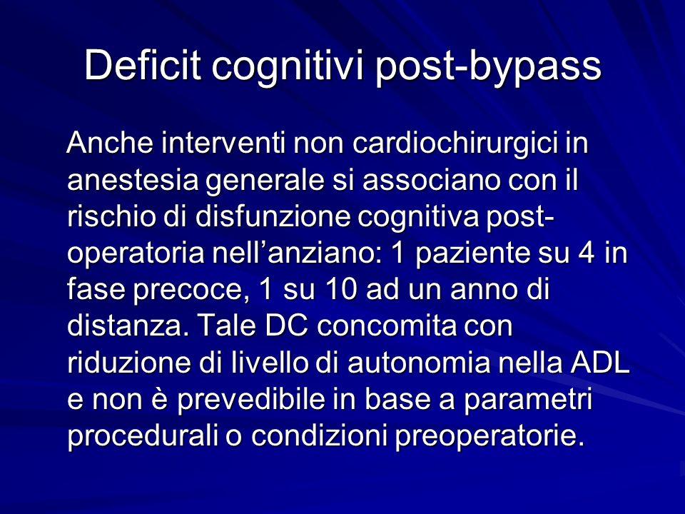 Deficit cognitivi post-bypass Anche interventi non cardiochirurgici in anestesia generale si associano con il rischio di disfunzione cognitiva post- o