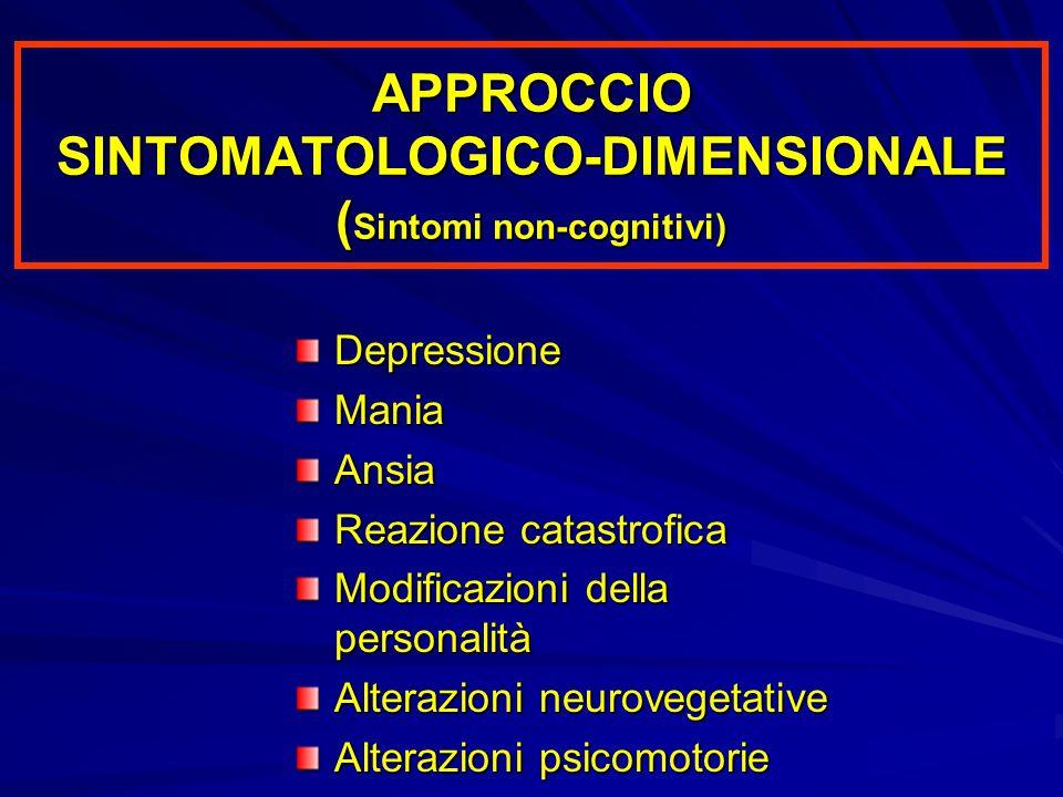 APPROCCIO SINTOMATOLOGICO-DIMENSIONALE ( Sintomi non-cognitivi) DepressioneManiaAnsia Reazione catastrofica Modificazioni della personalità Alterazion