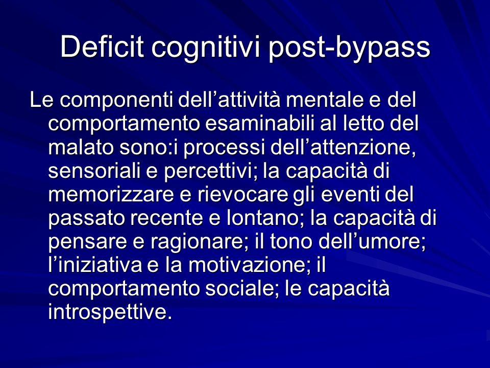 Deficit cognitivi post-bypass Le componenti dellattività mentale e del comportamento esaminabili al letto del malato sono:i processi dellattenzione, s