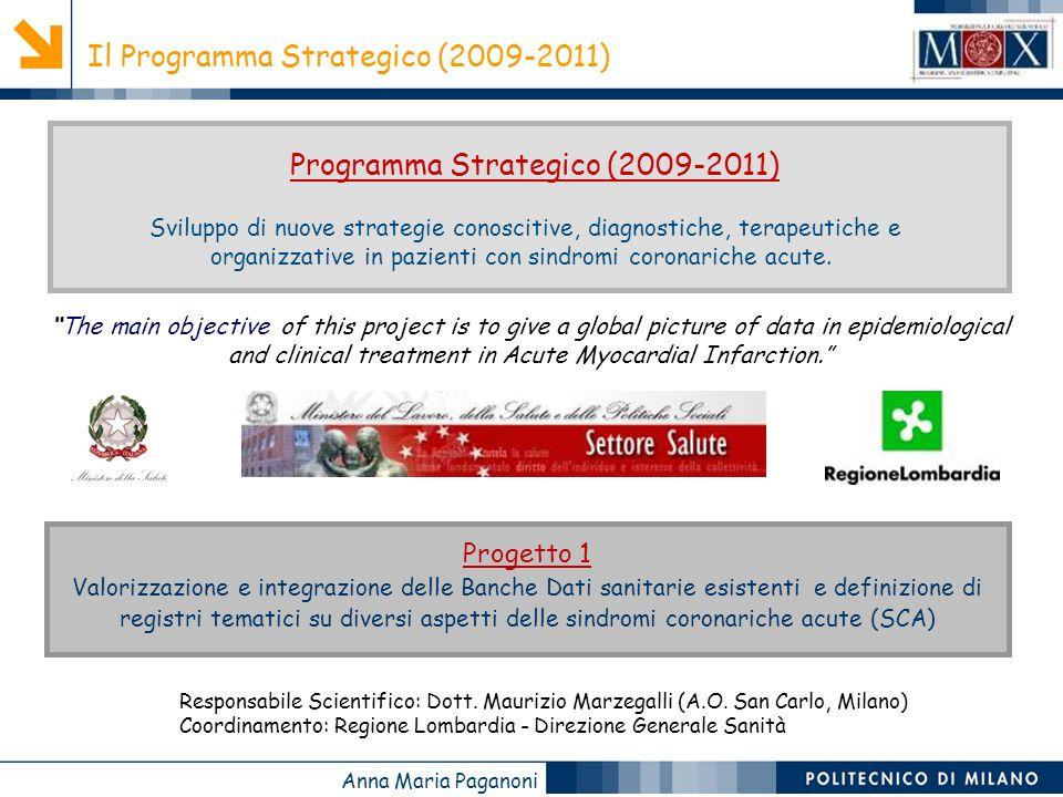 Anna Maria Paganoni Sviluppo di nuove strategie conoscitive, diagnostiche, terapeutiche e organizzative in pazienti con sindromi coronariche acute.