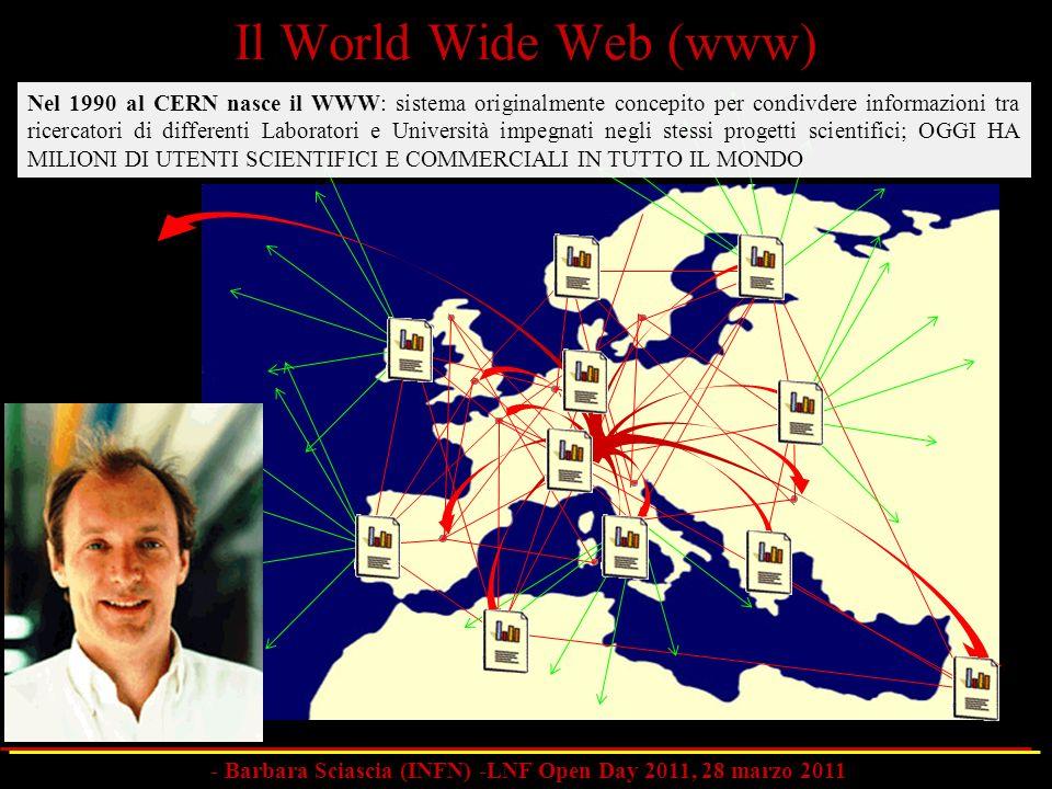 Nel 1990 al CERN nasce il WWW: sistema originalmente concepito per condivdere informazioni tra ricercatori di differenti Laboratori e Università impeg
