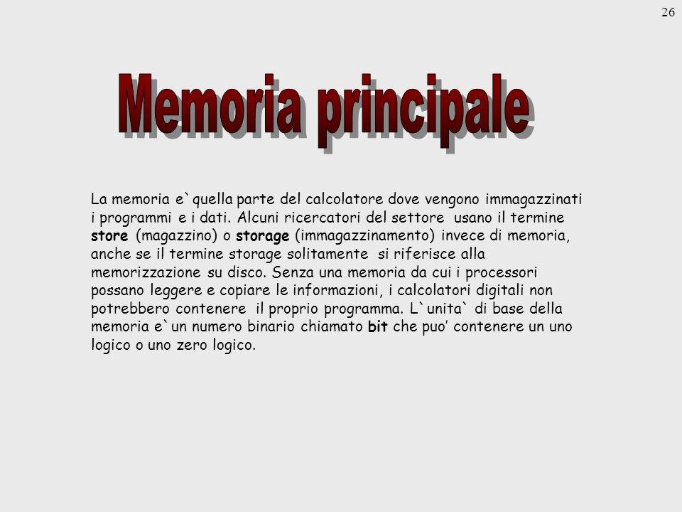 26 La memoria e`quella parte del calcolatore dove vengono immagazzinati i programmi e i dati.