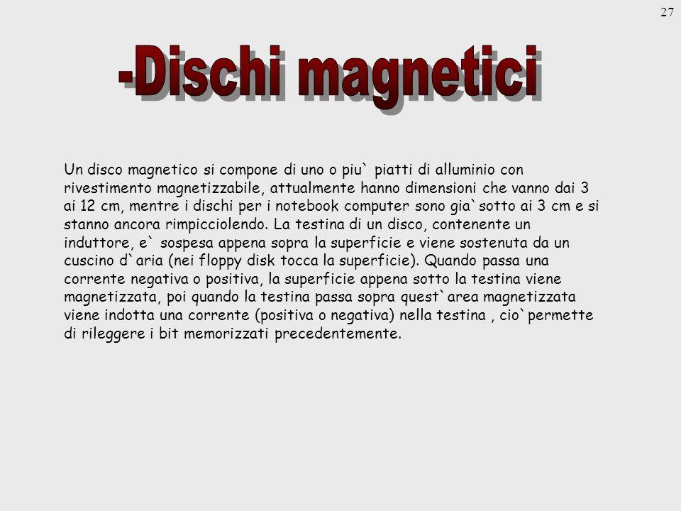 27 Un disco magnetico si compone di uno o piu` piatti di alluminio con rivestimento magnetizzabile, attualmente hanno dimensioni che vanno dai 3 ai 12 cm, mentre i dischi per i notebook computer sono gia`sotto ai 3 cm e si stanno ancora rimpicciolendo.