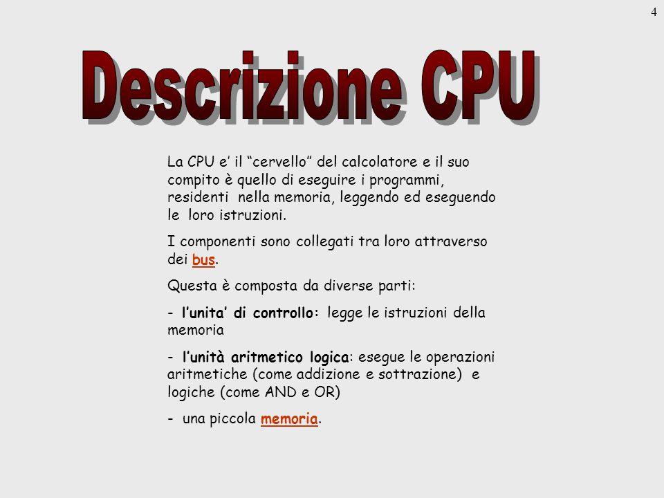 4 La CPU e il cervello del calcolatore e il suo compito è quello di eseguire i programmi, residenti nella memoria, leggendo ed eseguendo le loro istruzioni.