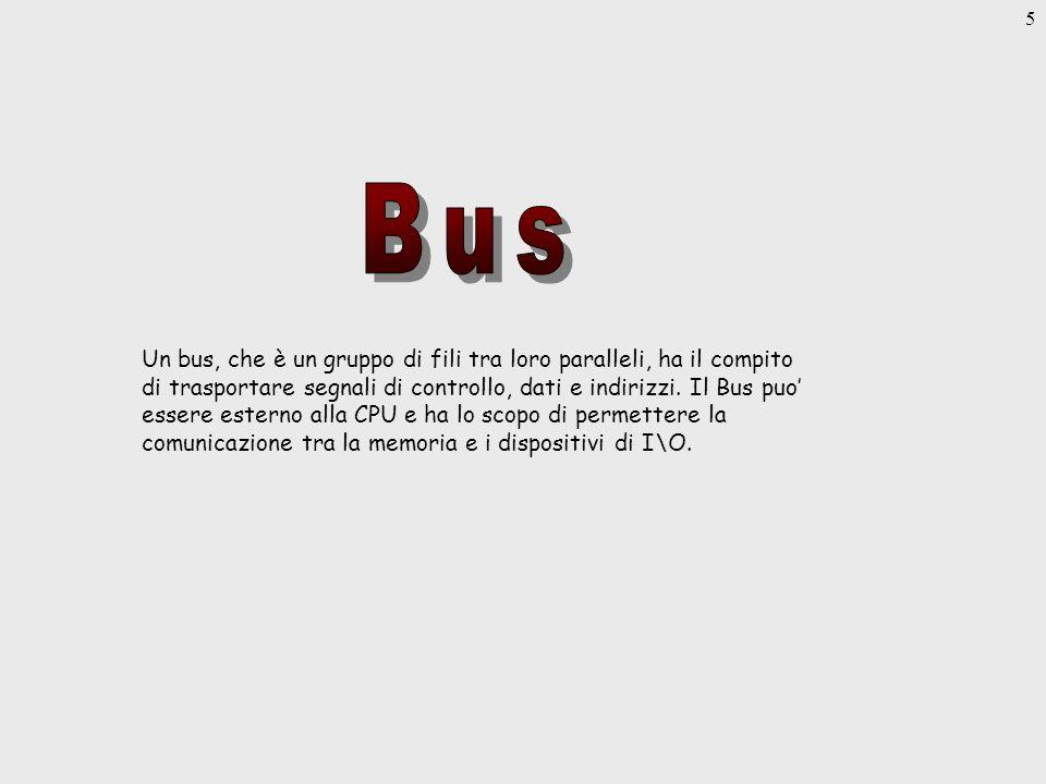 5 Un bus, che è un gruppo di fili tra loro paralleli, ha il compito di trasportare segnali di controllo, dati e indirizzi.