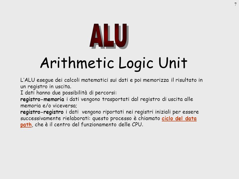 7 Arithmetic Logic Unit LALU esegue dei calcoli matematici sui dati e poi memorizza il risultato in un registro in uscita.