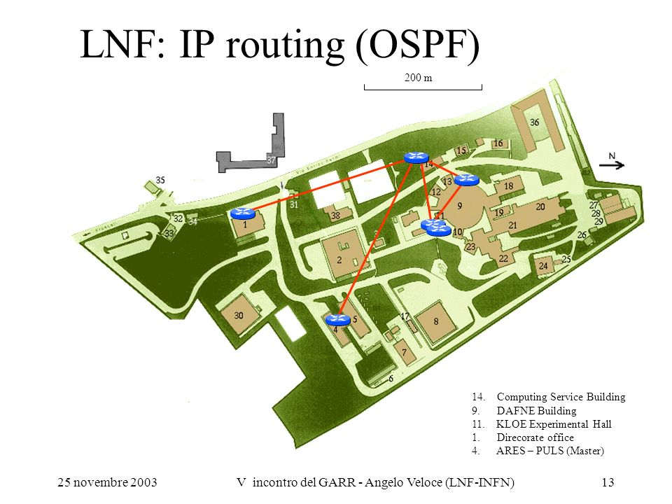 25 novembre 2003V incontro del GARR - Angelo Veloce (LNF-INFN)13 LNF: IP routing (OSPF) 14. Computing Service Building 9. DAFNE Building 11. KLOE Expe