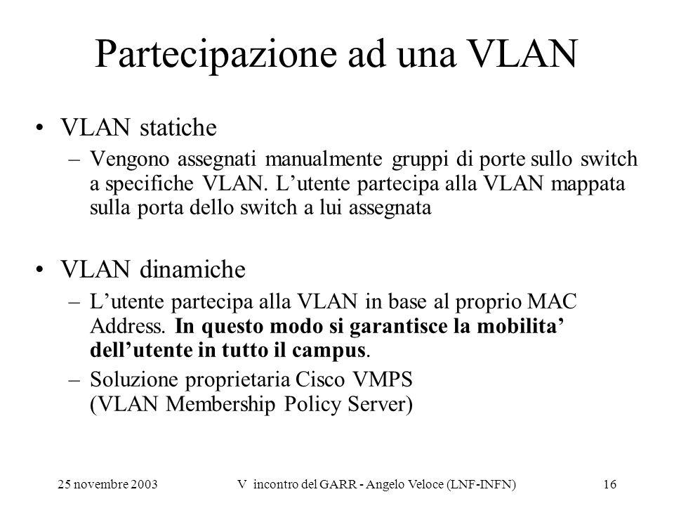 25 novembre 2003V incontro del GARR - Angelo Veloce (LNF-INFN)16 Partecipazione ad una VLAN VLAN statiche –Vengono assegnati manualmente gruppi di por