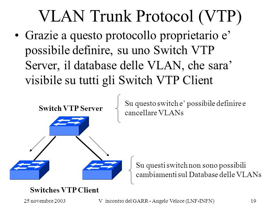 25 novembre 2003V incontro del GARR - Angelo Veloce (LNF-INFN)19 VLAN Trunk Protocol (VTP) Grazie a questo protocollo proprietario e possibile definir