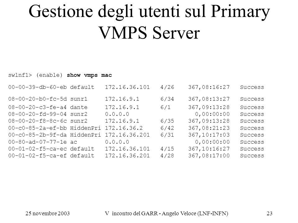 25 novembre 2003V incontro del GARR - Angelo Veloce (LNF-INFN)23 Gestione degli utenti sul Primary VMPS Server swlnf1> (enable) show vmps mac 00-00-39