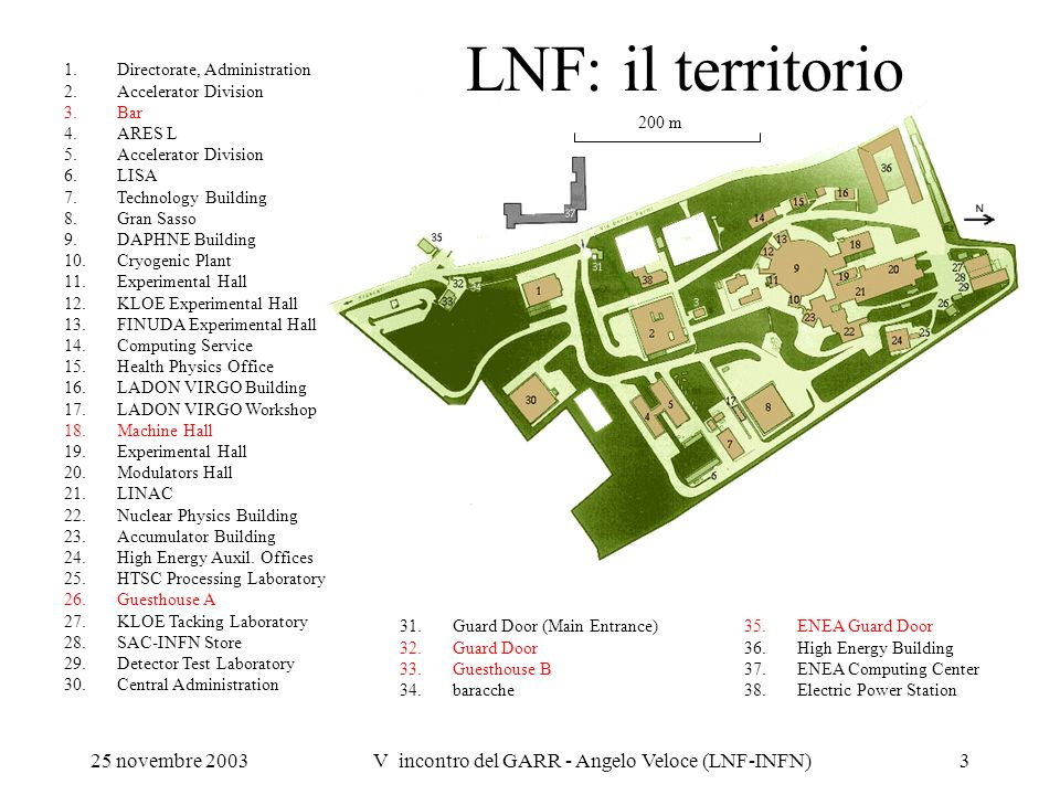 25 novembre 2003V incontro del GARR - Angelo Veloce (LNF-INFN)3 LNF: il territorio 31.Guard Door (Main Entrance) 32.Guard Door 33.Guesthouse B 34.bara