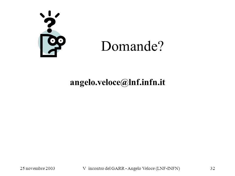 25 novembre 2003V incontro del GARR - Angelo Veloce (LNF-INFN)32 Domande? angelo.veloce@lnf.infn.it