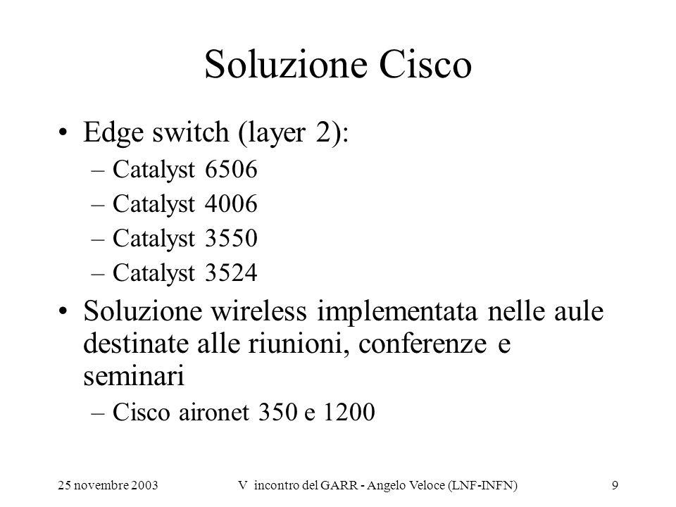 25 novembre 2003V incontro del GARR - Angelo Veloce (LNF-INFN)9 Soluzione Cisco Edge switch (layer 2): –Catalyst 6506 –Catalyst 4006 –Catalyst 3550 –C