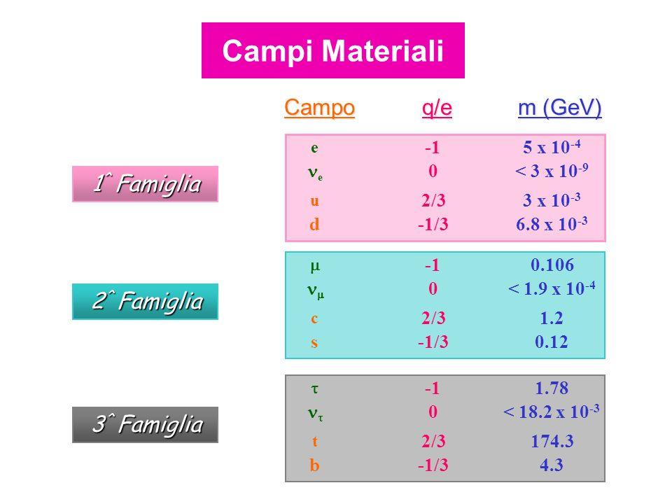 Campoq/e m (GeV) 6.8 x 10 -3 -1/3d 3 x 10 -3 2/3 u < 3 x 10 -9 0 e 5 x 10 -4 e 1 ^ Famiglia 0.12-1/3s 1.22/3 c < 1.9 x 10 -4 0 0.106 2 ^ Famiglia 4.3-