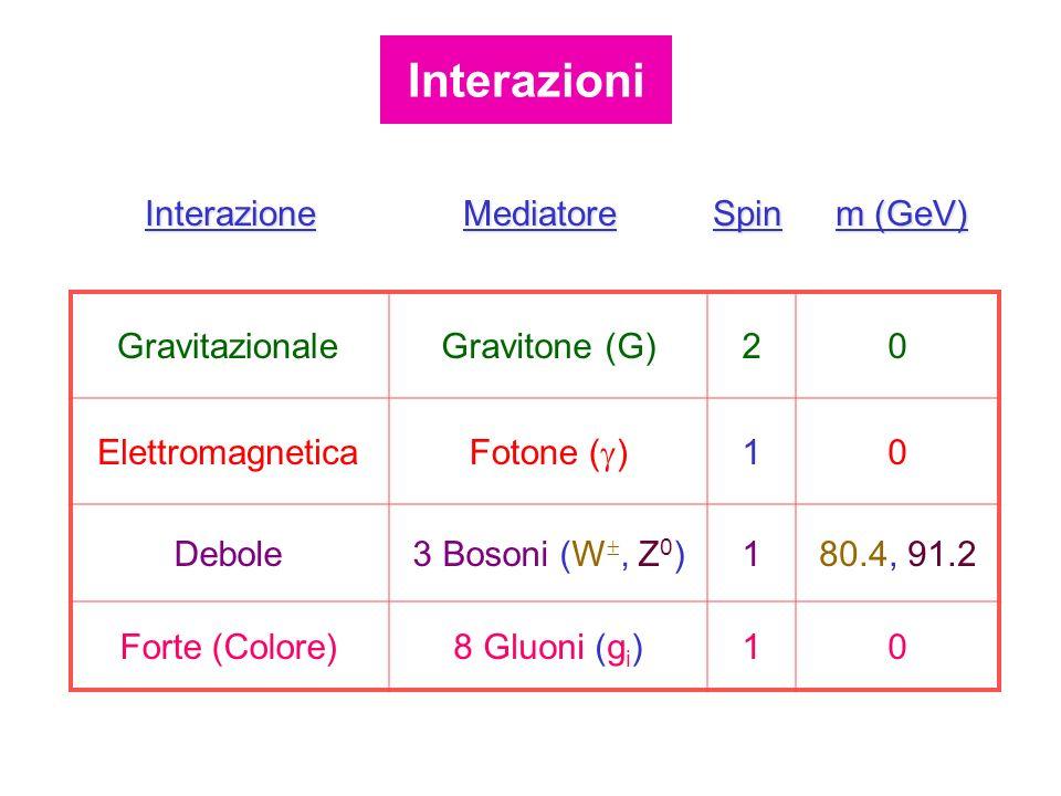 GravitazionaleGravitone (G)20 Elettromagnetica Fotone ( ) 10 Debole3 Bosoni (W, Z 0 )180.4, 91.2 Forte (Colore)8 Gluoni (g i )10 InterazioneMediatoreS