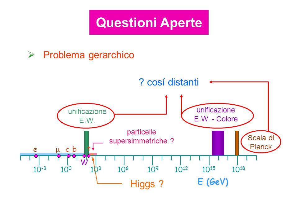 particelle supersimmetriche ? Higgs ? unificazione E.W. 10 12 10 15 10 18 10 9 10 6 10 3 10 0 10 -3 E (GeV) e cb W t unificazione E.W. - Colore Scala