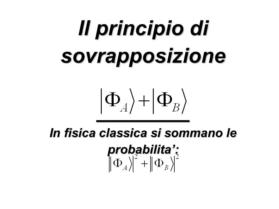 Il principio di sovrapposizione ________ In fisica classica si sommano le probabilita:
