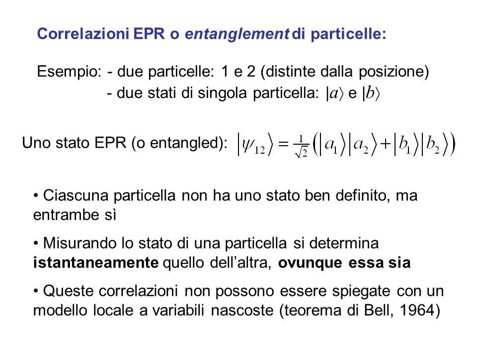 Correlazioni EPR o entanglement di particelle: Esempio: - due particelle: 1 e 2 (distinte dalla posizione) - due stati di singola particella: | a e |