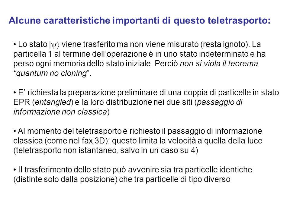 Alcune caratteristiche importanti di questo teletrasporto: Lo stato | viene trasferito ma non viene misurato (resta ignoto). La particella 1 al termin