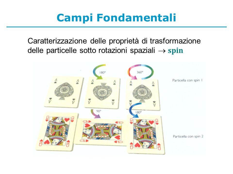 Campi Fondamentali Caratterizzazione delle proprietà di trasformazione delle particelle sotto rotazioni spaziali spin