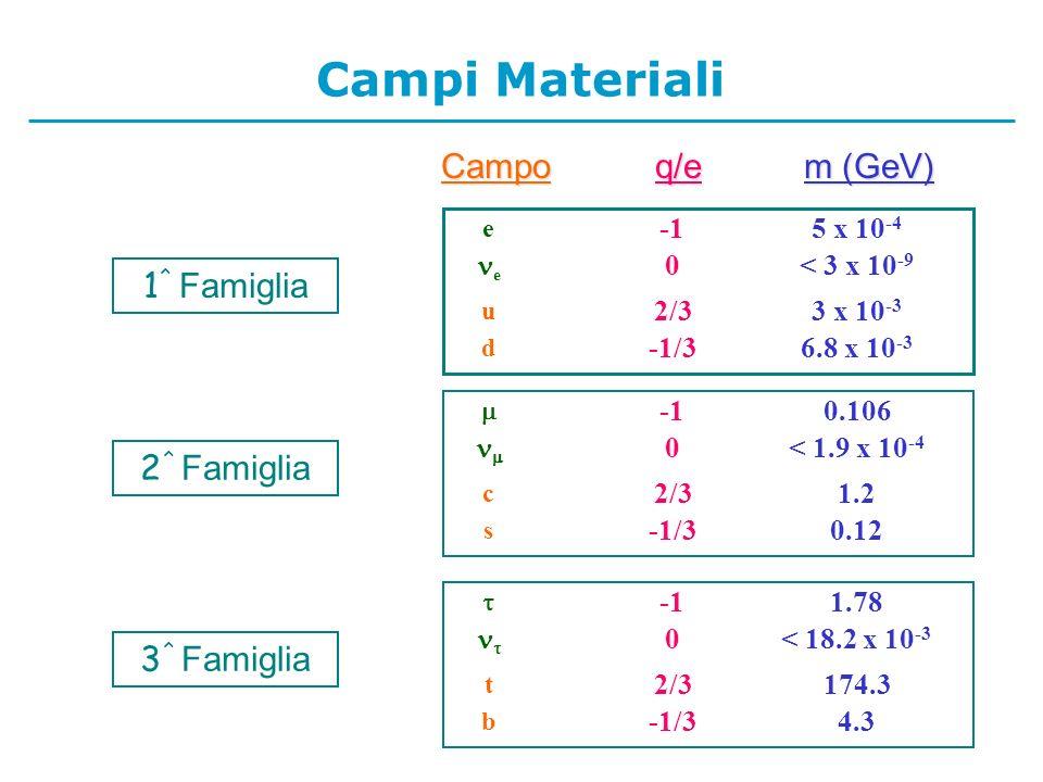 Campoq/e m (GeV) 6.8 x 10 -3 -1/3 d 3 x 10 -3 2/3 u < 3 x 10 -9 0 e 5 x 10 -4 e 1 ^ Famiglia 0.12-1/3 s 1.22/3 c < 1.9 x 10 -4 0 0.106 2 ^ Famiglia 4.3-1/3 b 174.32/3 t < 18.2 x 10 -3 0 1.78 3 ^ Famiglia Campi Materiali