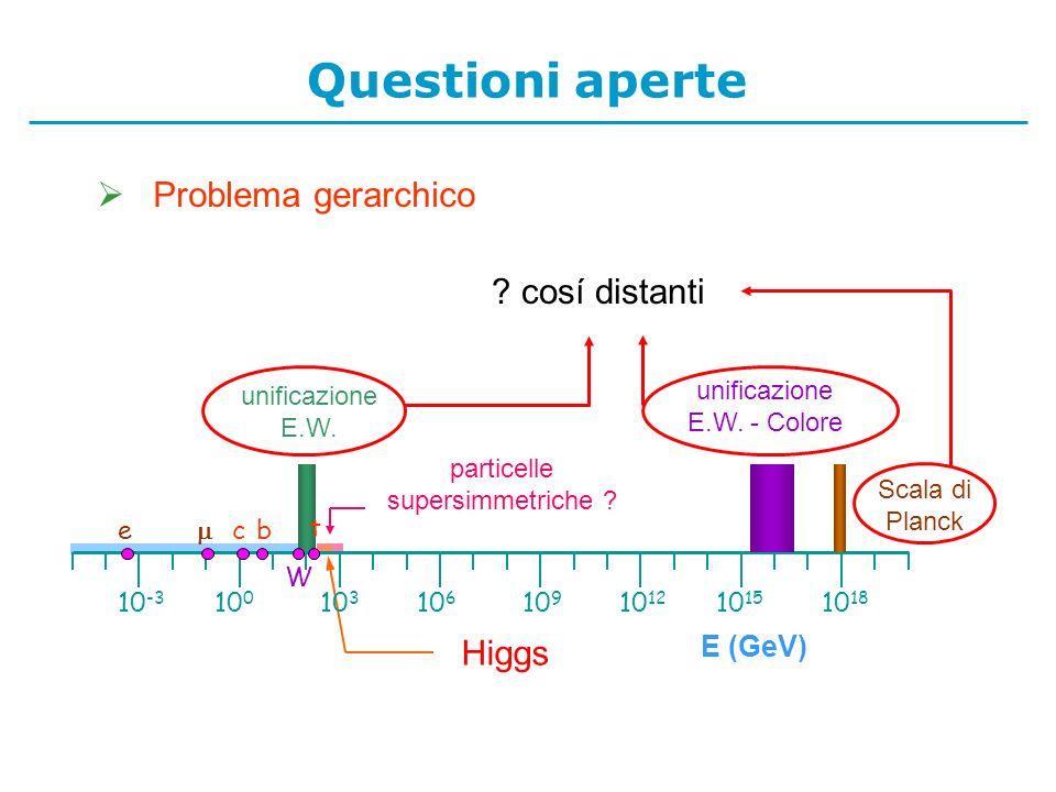 particelle supersimmetriche .Higgs unificazione E.W.