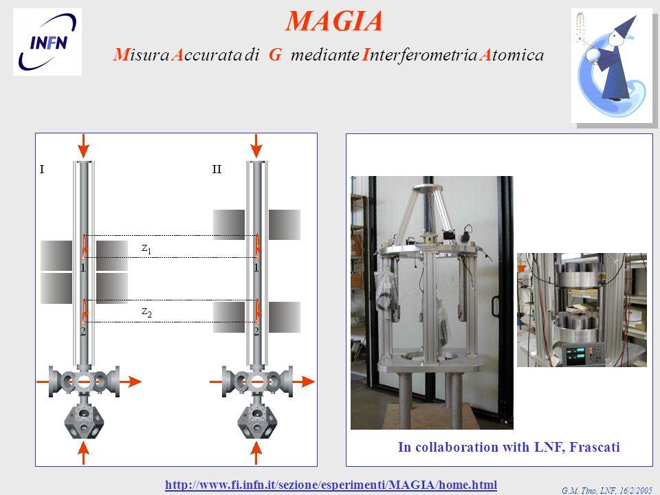 G.M. Tino, LNF, 16/2/2005 In collaboration with LNF, Frascati Misura Accurata di G mediante Interferometria Atomica http://www.fi.infn.it/sezione/espe