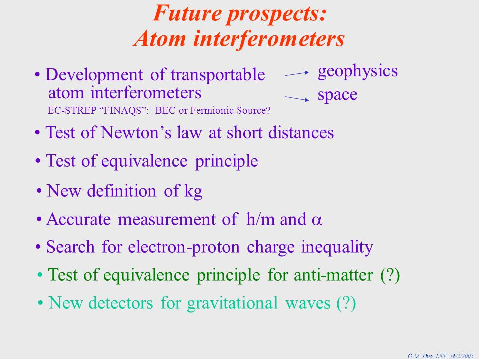 Future prospects: Atom interferometers Development of transportable atom interferometers EC-STREP FINAQS: BEC or Fermionic Source.
