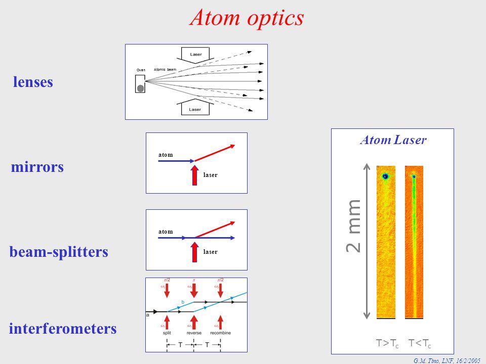 G.M. Tino, LNF, 16/2/2005 Atom optics Atomic beam Oven lenses mirrors beam-splitters atom laser interferometers atom laser 2 mm T>T c T<T c Atom Laser