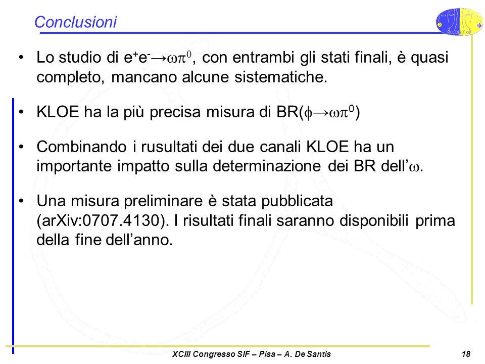 XCIII Congresso SIF – Pisa – A. De Santis18 Conclusioni Lo studio di e + e -wp 0, con entrambi gli stati finali, è quasi completo, mancano alcune sist