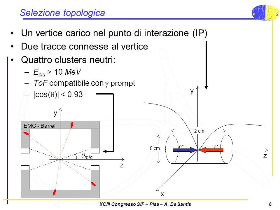 XCIII Congresso SIF – Pisa – A. De Santis6 Selezione topologica Un vertice carico nel punto di interazione (IP) Due tracce connesse al vertice Quattro