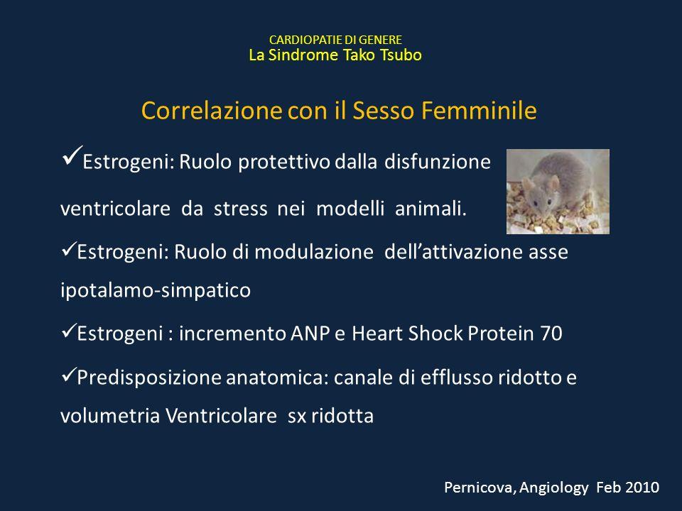 Estrogeni: Ruolo protettivo dalla disfunzione ventricolare da stress nei modelli animali. Estrogeni: Ruolo di modulazione dellattivazione asse ipotala