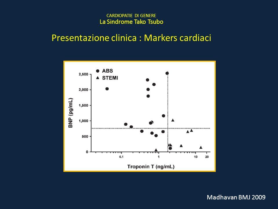 Madhavan BMJ 2009 CARDIOPATIE DI GENERE La Sindrome Tako Tsubo Presentazione clinica : Markers cardiaci