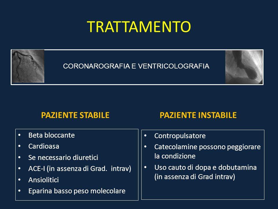 TRATTAMENTO PAZIENTE STABILE Beta bloccante Cardioasa Se necessario diuretici ACE-I (in assenza di Grad. intrav) Ansiolitici Eparina basso peso moleco