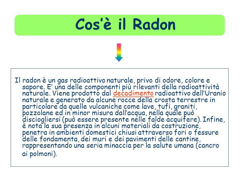 Cosè il Radon Il radon è un gas radioattivo naturale, privo di odore, colore e sapore. E una delle componenti più rilevanti della radioattività natura